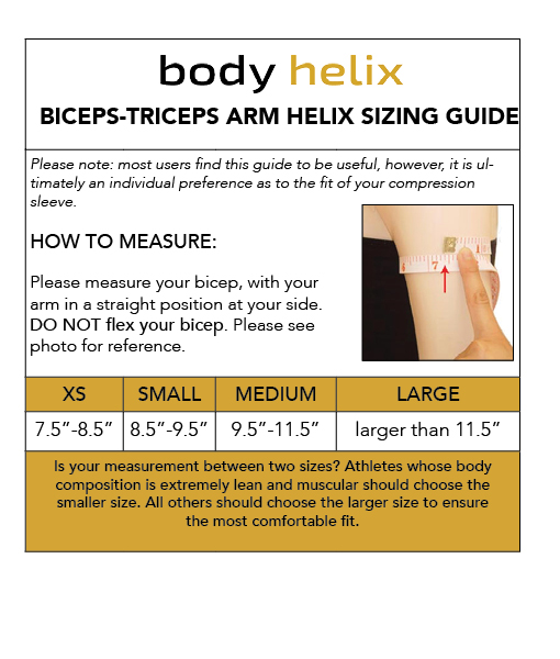 bicep compression sleeve sizing guide