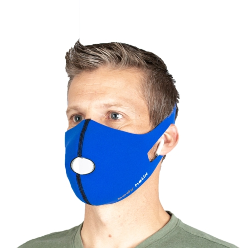 Front profile of a male wearing Body Helix's reusable & washable face mask