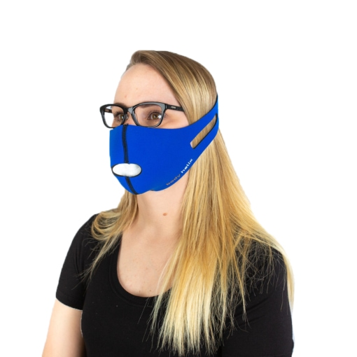 Front profile of a woman wearing Body Helix's reusable & washable face mask