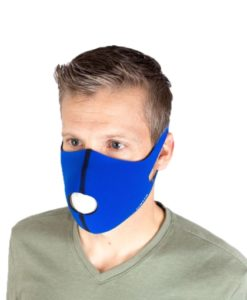 Top profile of a male wearing Body Helix's reusable & washable face mask